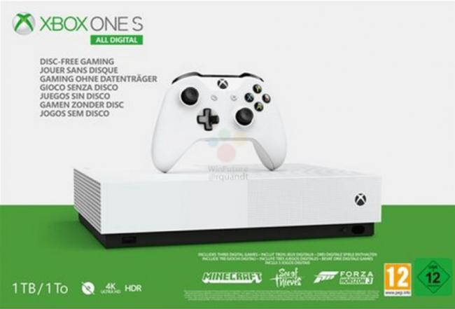 Xbox One S без дисковода